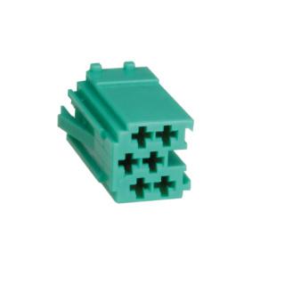 Mini ISO Stecker Leergehäuse 6 Polig Grün