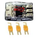 3-fach Auto Stromkabel Sicherungsverteiler + 40A Sicherungen